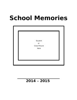 School Memory Book -15 pages - can be colored & personalized by students