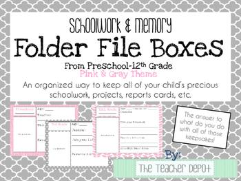 School Memory/Keepsake Box - Preschool-12th Grade - Pink &
