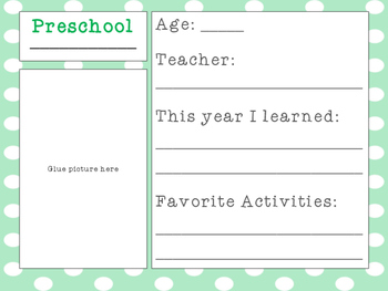School Memory/Keepsake Box - Preschool-12th Grade - Green & Gray Theme