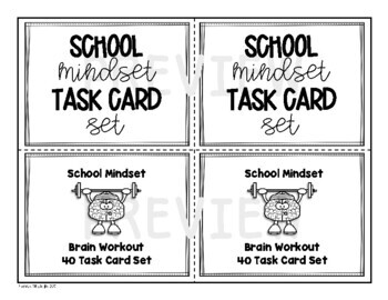 School Mindset Task Card Set