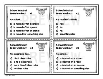 School Growth Mindset Task Card Set