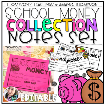 School Money Collection: Notes Set- Organization made easy!