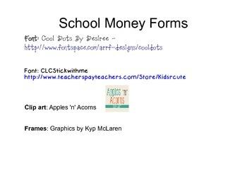 School Money Forms