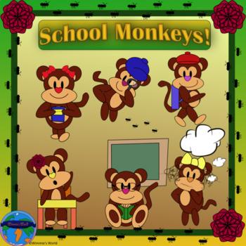 School Monkeys CLIP ART