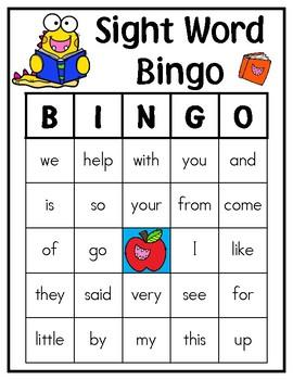 School Monster Kindergarten Sight Word Bingo