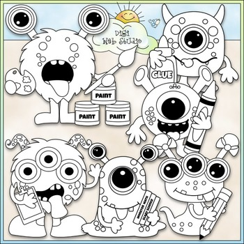 School Monsters Clip Art - Monster School Clip Art - CU Clip Art & B&W