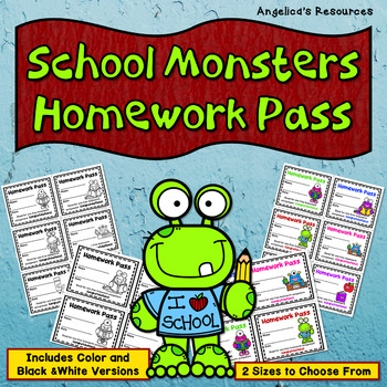 School Monsters Homework Pass - Incentive Reward Coupon  -  Cactus Theme