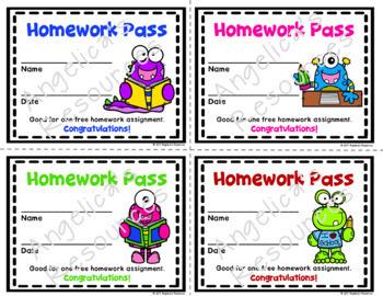 School Monsters Homework Pass - Incentive Reward Coupon