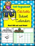 School Monthly Calendar – EDITABLE