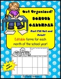School Monthly Calendar – Editable – FREE SAMPLE