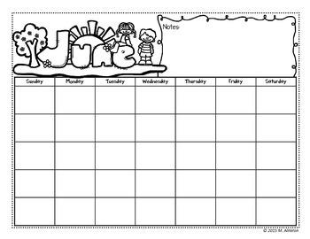 School Monthly Calendar – Editable – FREE SAMPLE