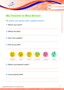 School - My Teacher, Miss Brown - Grade 1