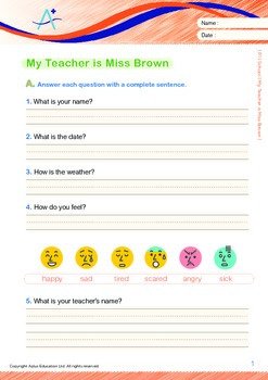 School - My Teacher is Miss Brown (with 'Triple-Track Writing Lines')