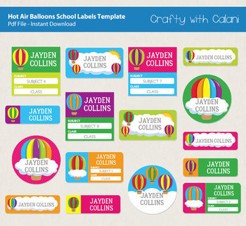 School Name Labels in Hot Air Balloons Theme with Editable Text