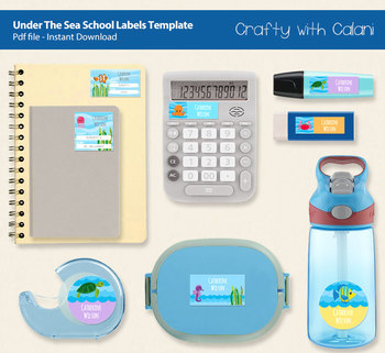 School Name Labels in Under The Sea Theme with Editable Text