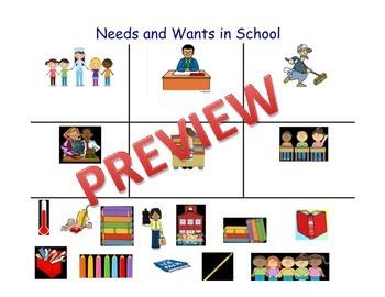 School Needs and Wants Sorting