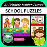 Back to School Number Puzzles 20 SCHOOL Puzzles 1-10 Times Tables Skip Counting