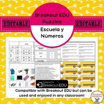 School/Numbers Breakout EDU Puzzles