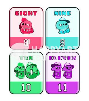Montessori School Numbers Flash Cards Classic 1-20