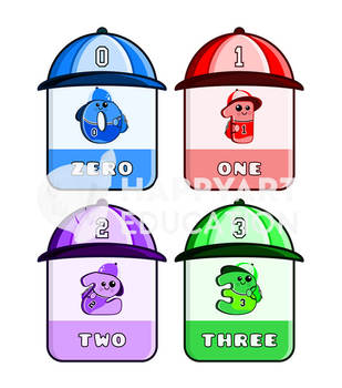 School Numbers Flashcards With Cool Hats