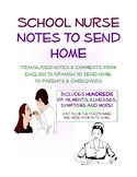 School Nurse Note Home - Ready-made comments translated to