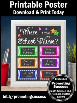 School Nurse Office Decor Printable Door Sign Great Gift