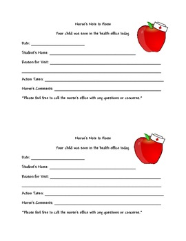 School Nurse Pass, Notes to Home, Notes with Apple wearing Nurses Hat