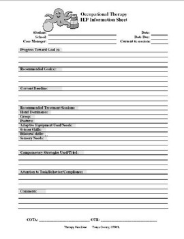 School OT Management and Assessment Forms