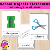 School Objects A4 Flashcards - Set of 8 - Color, Black and White