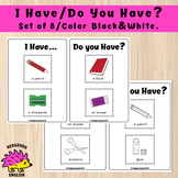School Objects - I Have, Do You Have? Set of 8 - Color Black and White