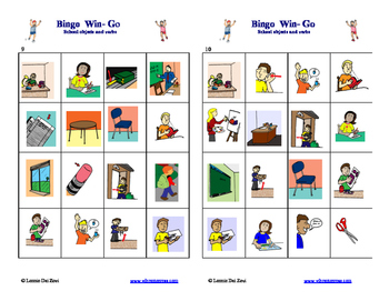 School Objects and Verbs Bingo with Multi-lingual Calling Cards for Big Classes