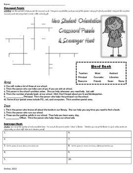 School Orientation Crossword Puzzle and Scavenger Hunt- For New Students