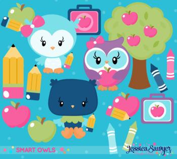 School Owl Clipart with school supplies