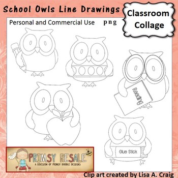 School Owl digital stamps line drawing  personal & commercial use