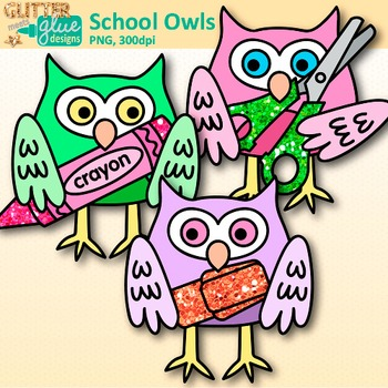 School Owl Clip Art {Back to School Graphics for the First Day of School}