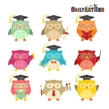 School Owls Clip Art - Great for Art Class Projects!