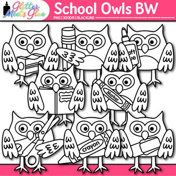 School Owl Clip Art {Back to School Graphics for the First Day of School} B&W