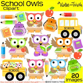 Back to School Owls Bus Student Teacher Backpack Notebook Clipart Clip Art