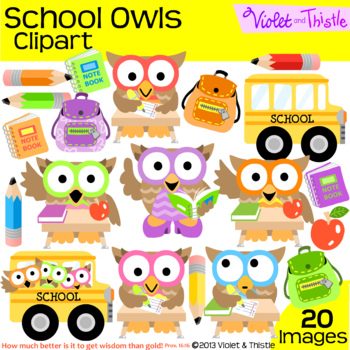 Back to school owl. Owls clipart bus student