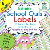 School Owls Labels Editable Classroom Notebook Folder Name (Avery 5163, 8163)