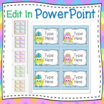 School Owls Labels Editable Classroom Notebook Folder Name Tags (Avery 5164)