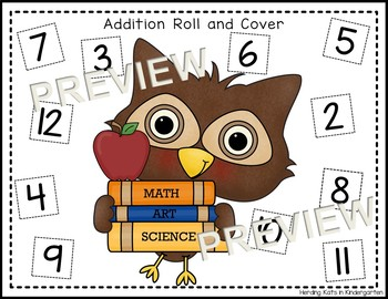 School Owls Roll & Cover Addition & Subtraction Games!