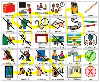 School PEC symbols 120 communication system boardmaker PCS PECs special ed