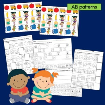 Back to School Patterns Math Center with AB, ABC, AAB & ABB Patterns