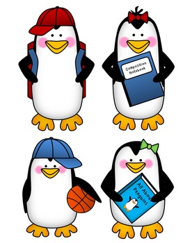 Penguins Clip Art - Back to School Set {By Busy Bee Clip Art}