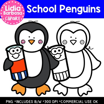 School Penguins: Digital Clipart