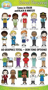 School Personnel Characters Clip Art Bundle Pack — Include