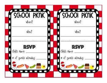 School Picnic Invitation and Tickets
