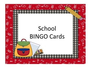 School Picture Bingo Game