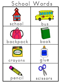 School Picture Word Bank and Picture Cards